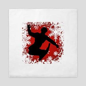 SNOWBOARDING (Red) Queen Duvet