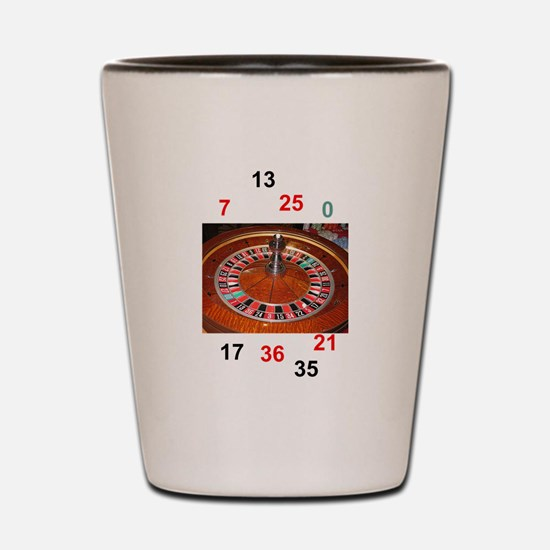 Casino roulette gaming wheel with numbe Shot Glass