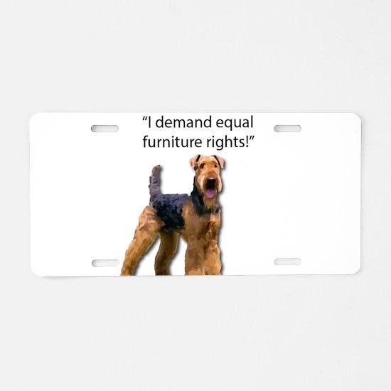 Stubborn Airedale Terrier P Aluminum License Plate