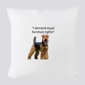 Stubborn Airedale Terrier Prot Woven Throw Pillow