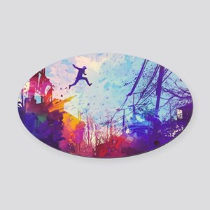 Parkour Urban Obstacle Course Oval Car Magnet
