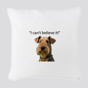 Airedale standing in disbelief Woven Throw Pillow