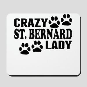 Crazy St. Bernard Lady Mousepad