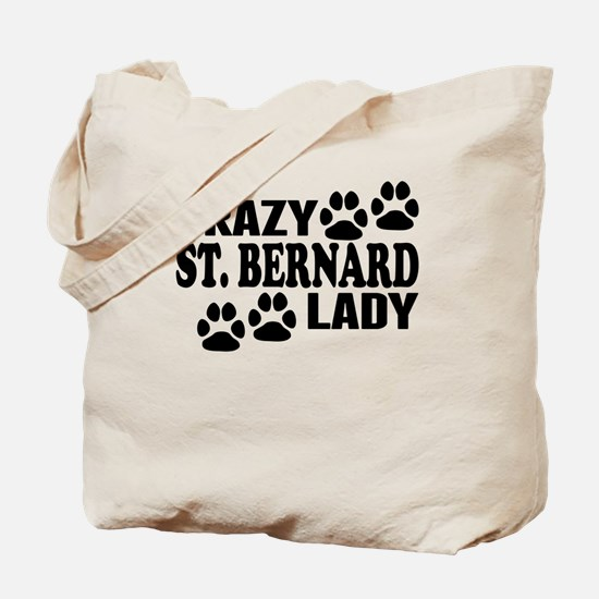 Crazy St. Bernard Lady Tote Bag