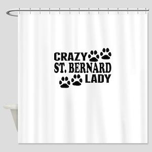 Crazy St. Bernard Lady Shower Curtain