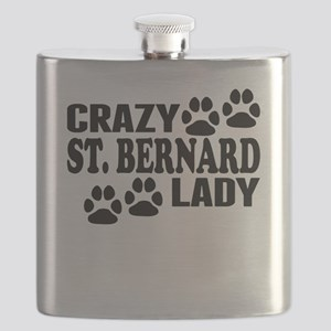 Crazy St. Bernard Lady Flask