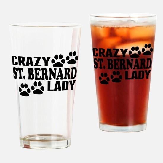 Crazy St. Bernard Lady Drinking Glass