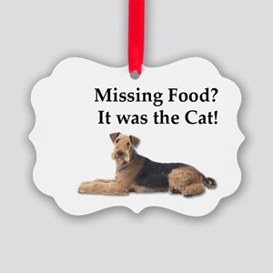Airedale Terrier blaming missing Picture Ornament
