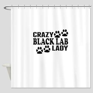 Crazy Black Lab Lady Shower Curtain