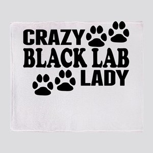 Crazy Black Lab Lady Throw Blanket