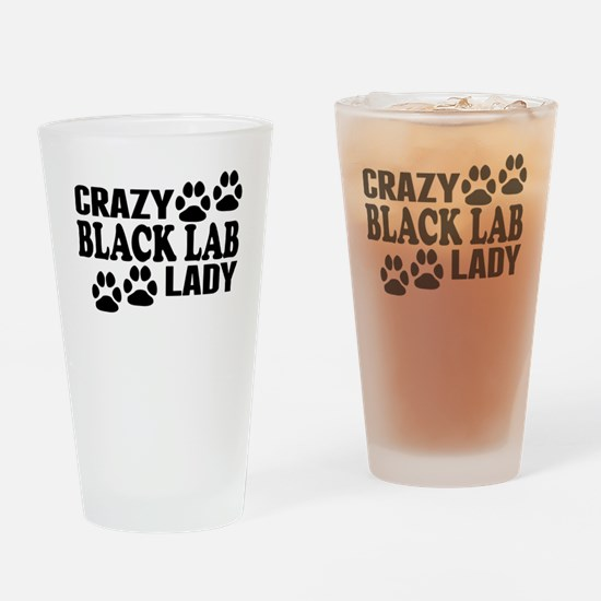 Crazy Black Lab Lady Drinking Glass