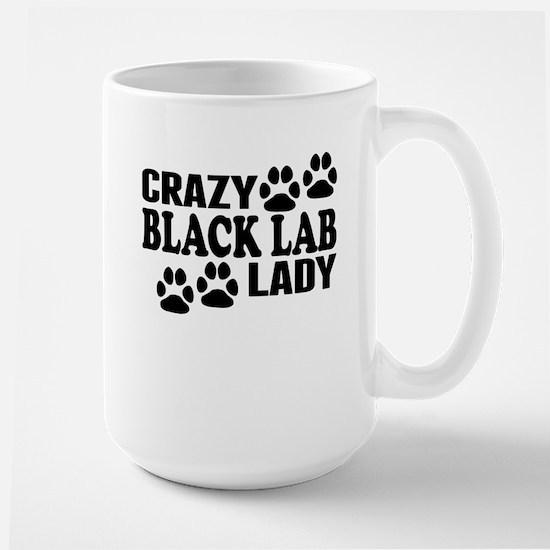 Crazy Black Lab Lady Mugs