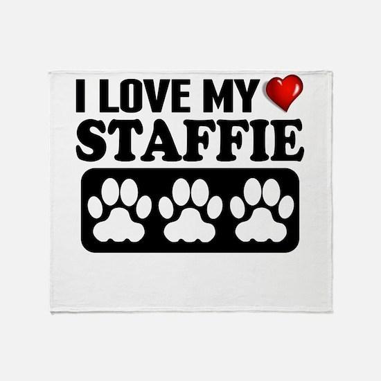 I Love My Staffie Throw Blanket