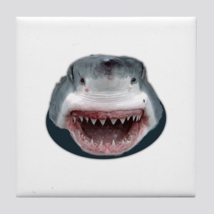 Shark Attack Head Sticking out of wat Tile Coaster