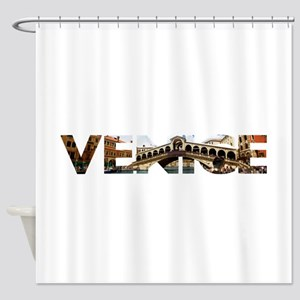 Venice Rialto canal typo Shower Curtain