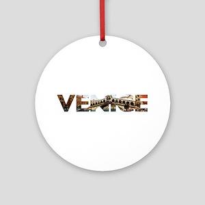 Venice Rialto canal typo Round Ornament