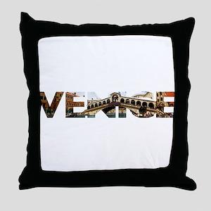 Venice Rialto canal typo Throw Pillow