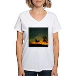 AFTM Old Stallion At Sunrise Women's V-Neck T-Shir