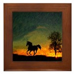 AFTM Old Stallion At Sunrise Framed Tile