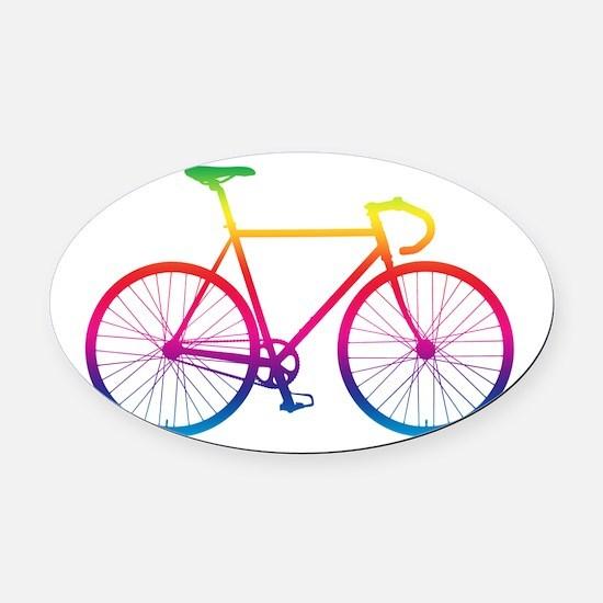 Road Bike - Rainbow Oval Car Magnet