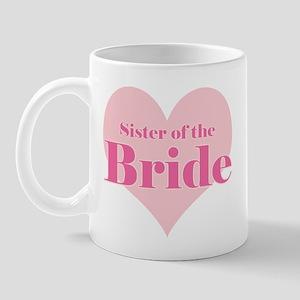 Sister of the Bride pink hear Mug