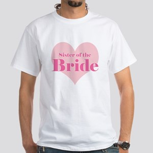 Sister of the Bride pink hear White T-Shirt