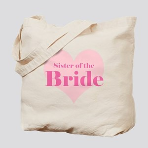 Sister of the Bride pink hear Tote Bag
