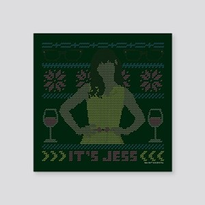 """new girl ugly christmas Square Sticker 3"""" x 3"""""""