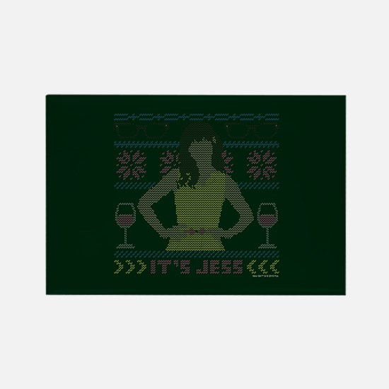 new girl ugly christmas Rectangle Magnet
