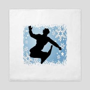 SNOWBOARDING (Blue) Queen Duvet