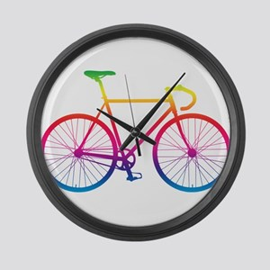 Road Bike - Rainbow Large Wall Clock