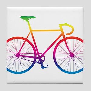 Road Bike - Rainbow Tile Coaster