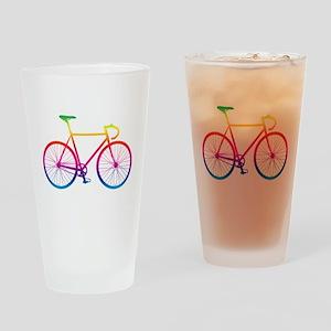 Road Bike - Rainbow Drinking Glass