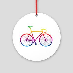 Road Bike - Rainbow Round Ornament