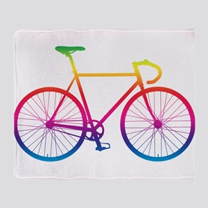 Road Bike - Rainbow Throw Blanket