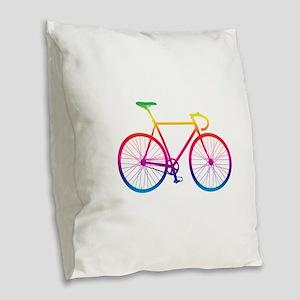 Road Bike - Rainbow Burlap Throw Pillow