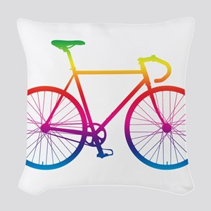 Road Bike - Rainbow Woven Throw Pillow