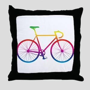 Road Bike - Rainbow Throw Pillow