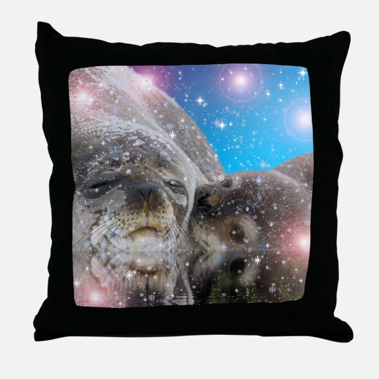 Cute Baby seal Throw Pillow