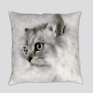 BW Persian Cat Portrait Everyday Pillow
