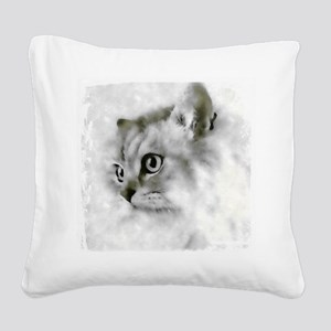 BW Persian Cat Portrait Square Canvas Pillow