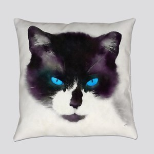 Blue-eyed Cat Portrait AB Everyday Pillow