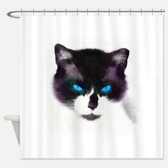 Blue-eyed Cat Portrait AB Shower Curtain