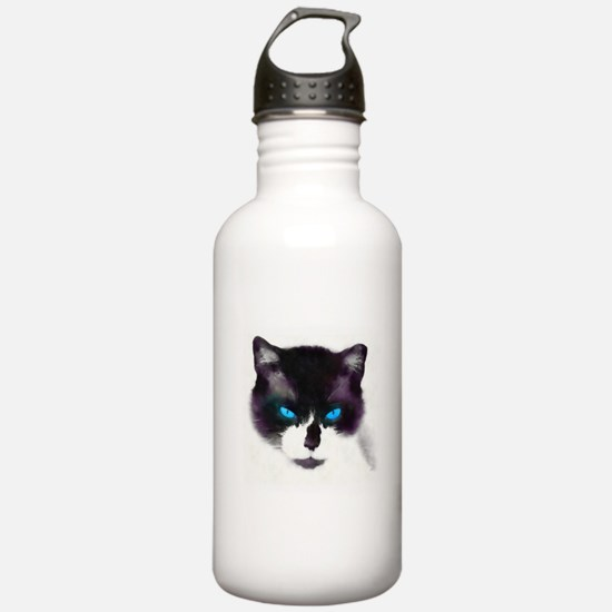 Blue-eyed Cat Portrait AB Water Bottle