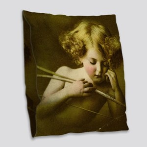 Cupid Asleep Burlap Throw Pillow