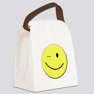 Winking Smiley Face Canvas Lunch Bag