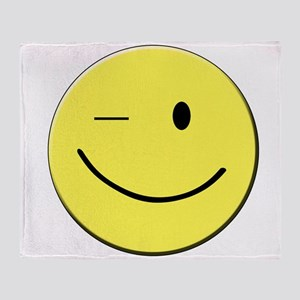 Winking Smiley Face Throw Blanket