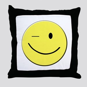 Winking Smiley Face Throw Pillow