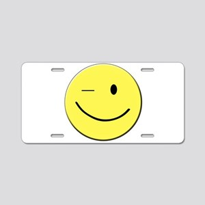 Winking Smiley Face Aluminum License Plate