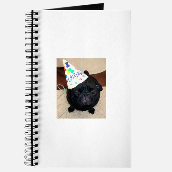 Black Pug Birthday Journal